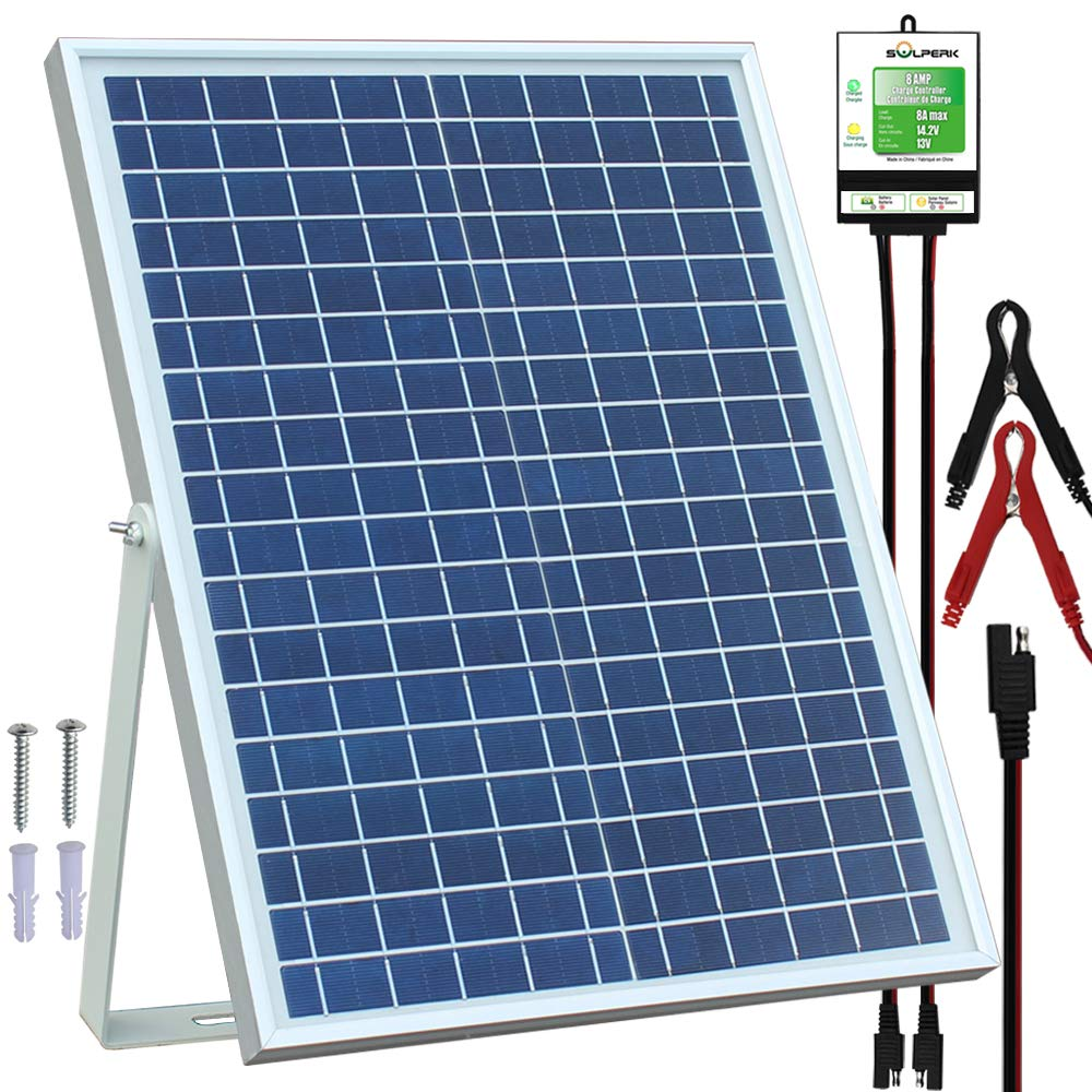 SOLPERK 20W Solar Panel,12V Solar Panel Charger Kit+8A Controller, Suitable for Automotive, Motorcycle, Boat, ATV, Marine, RV, Trailer, Powersports, Snowmobile etc. Various 12V Batteries. (20W Solar by SOLPERK