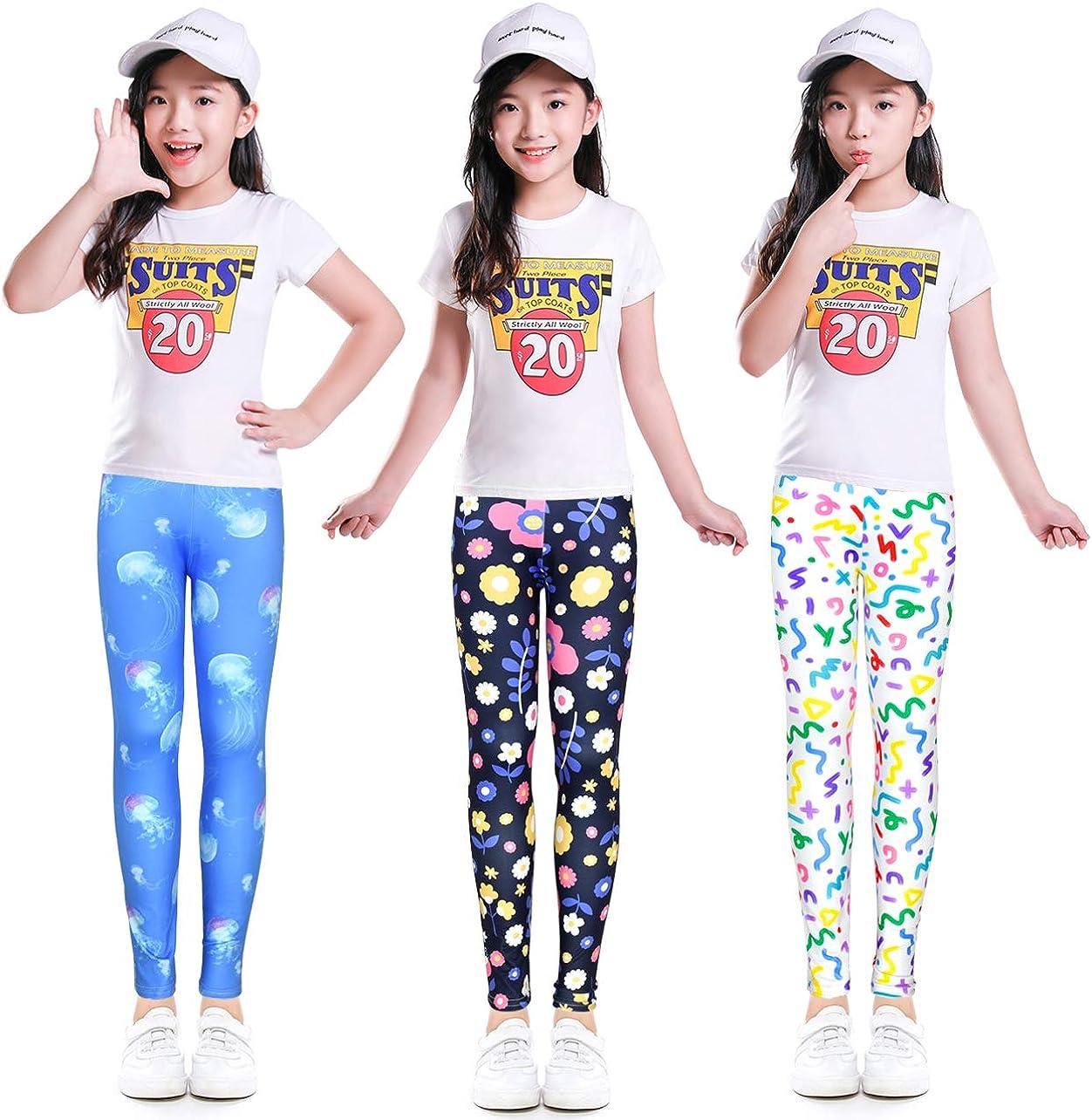 slaixiu Printing Flower Girl Leggings Kids Classic Pants 4-13Y