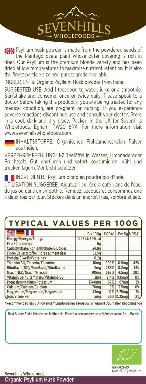 Sevenhills Wholefoods Cáscara De Psyllium En Polvo Orgánico 2kg: Amazon.es: Salud y cuidado personal