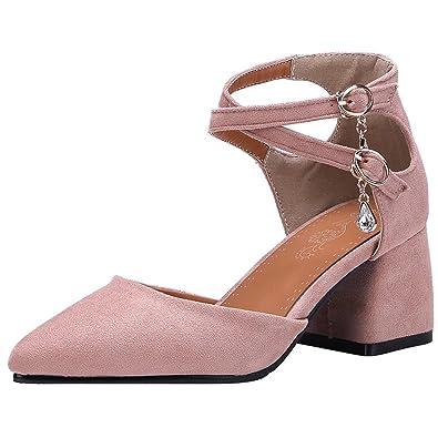 ac1ebaf8051958 Blockabsatz Pumps mit Knöchelriemchen und Strass High Heel Elegant Schuhe  Damen Aiyoumei Fälschung Günstig Online Billig