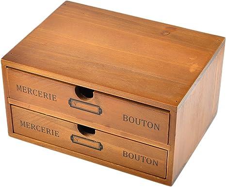 GODNECE Schubladenbox Holz Schubladen Organizer B/üro Holz-2 Schubladen