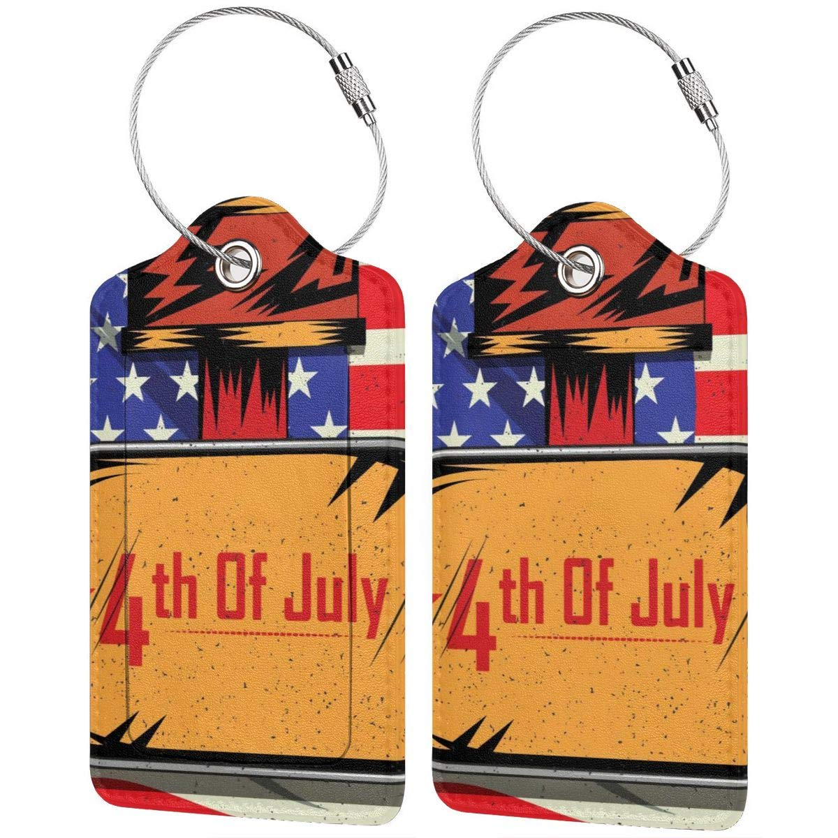 Luggage Tags Leather Case Suitcase Label With Stainless Steel Loop Bag Baggage Tote Tags Travel Tags Independence Day 4th Of July United States set of 4