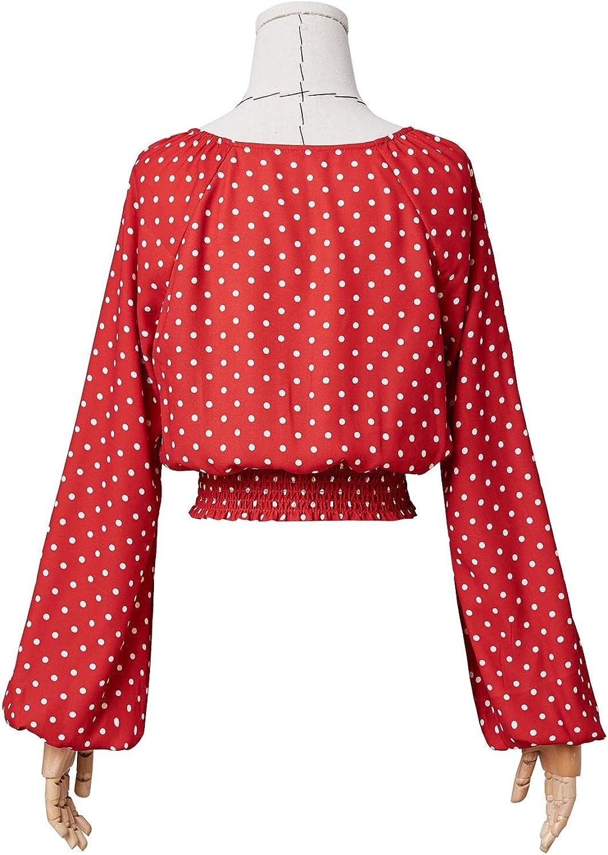Artka Blusa de Gasa con Cuello en V y Lunares Rojos para