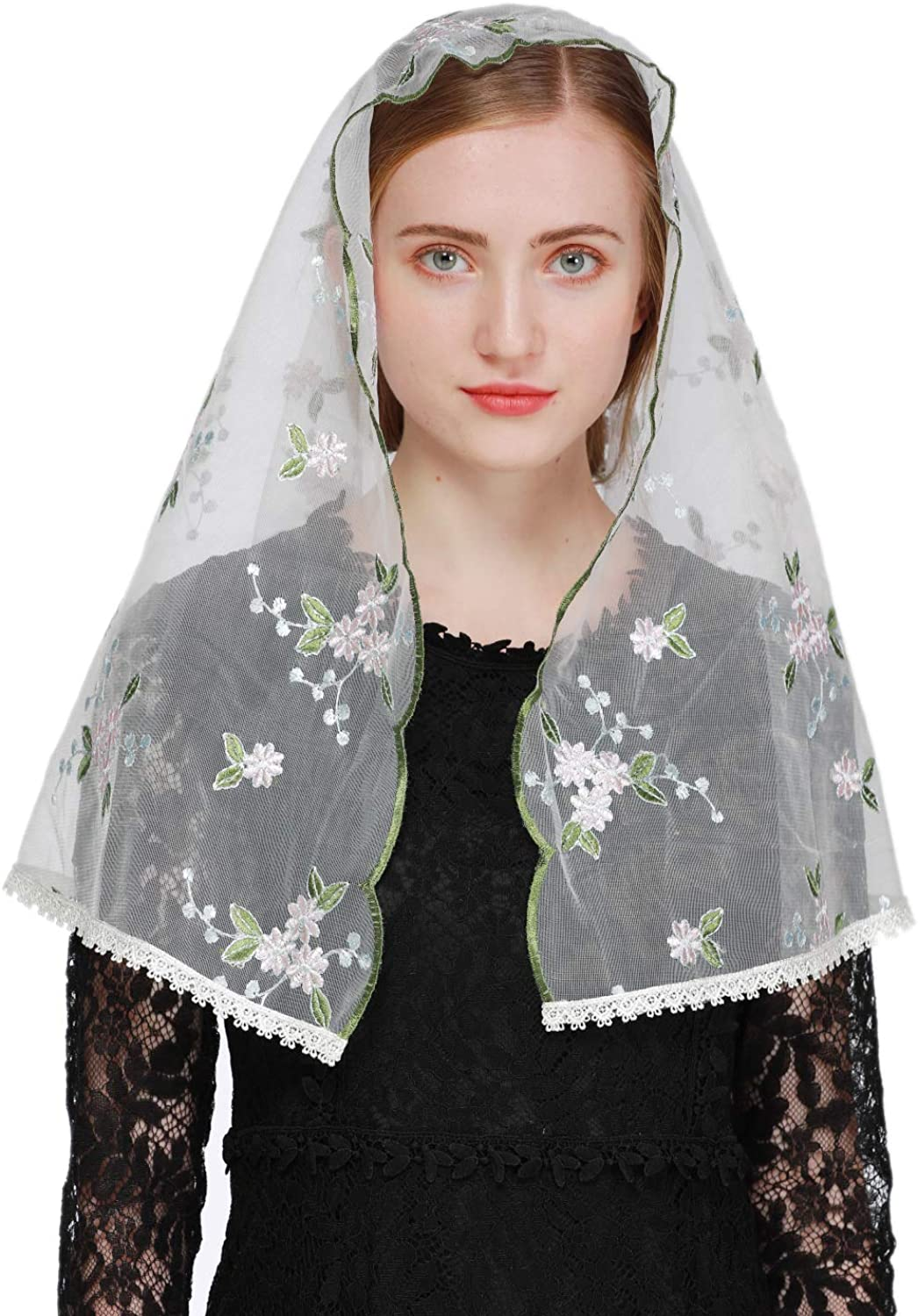 Pamor Vintage Inspired Floral Lace Chapel Veil D Shape Mantilla Veils Latin Scarf for Mass
