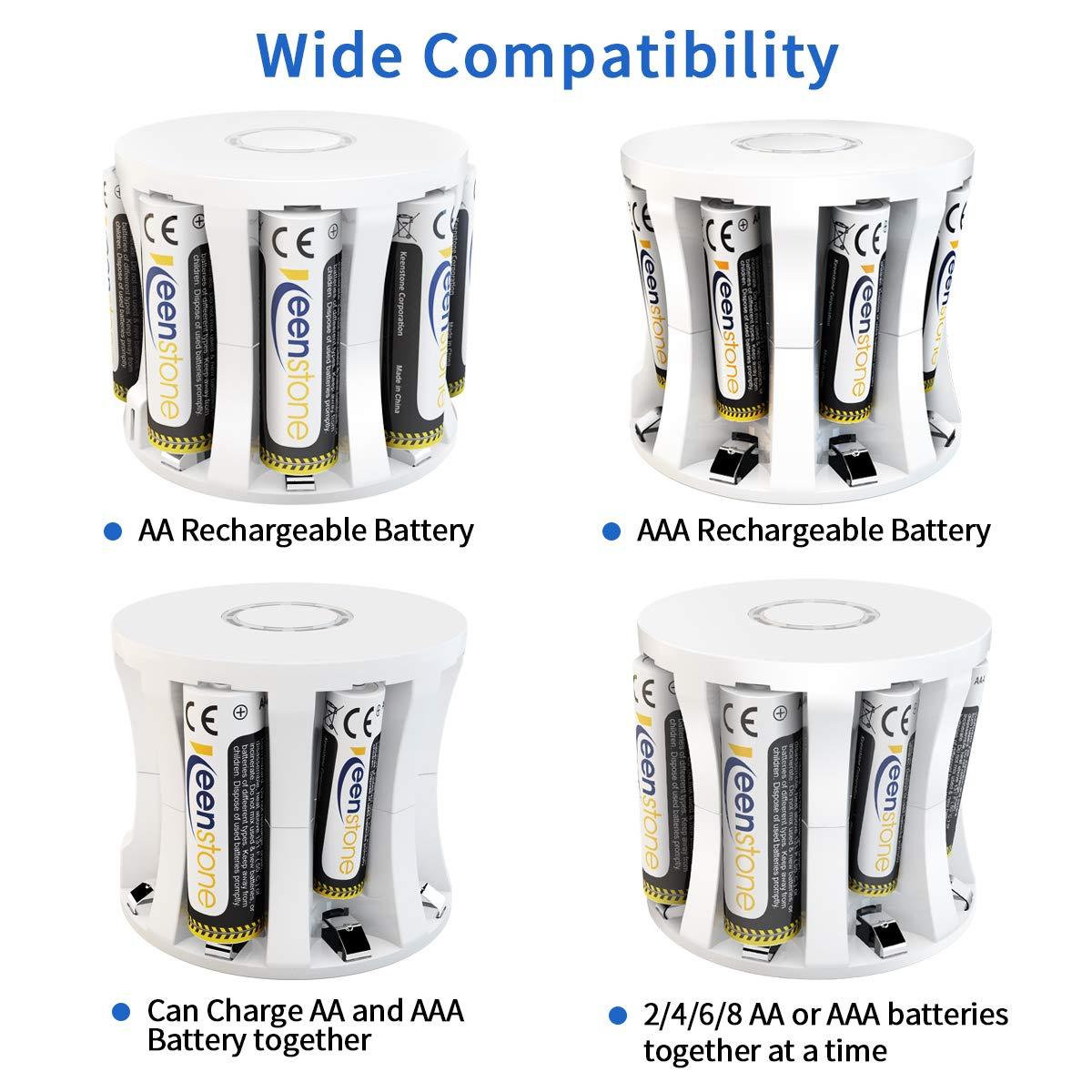 Keenstone AAA Batterie Rechargeable,1.2V 1100mAh Batteries NiMH Charge 1500 Fois avec Chargeur à 8 Emplacements, Idéal pour Lampe de Poche Jouet Electrique et etc(8PCS)