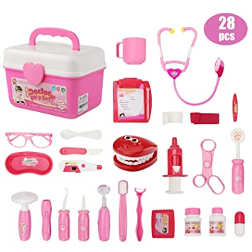 Ucradle Doctor Kit for Kids, 28PCS Dentist Kit Medical Case with Electronic  Stethoscope Doctor Set Pretend Role Play Set Fun Toy for Toddler Children