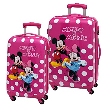 Disney Minnie y Mickey Lunares Set de Maletas Rígidas, Color Rosa, 86 litros: Amazon.es: Equipaje