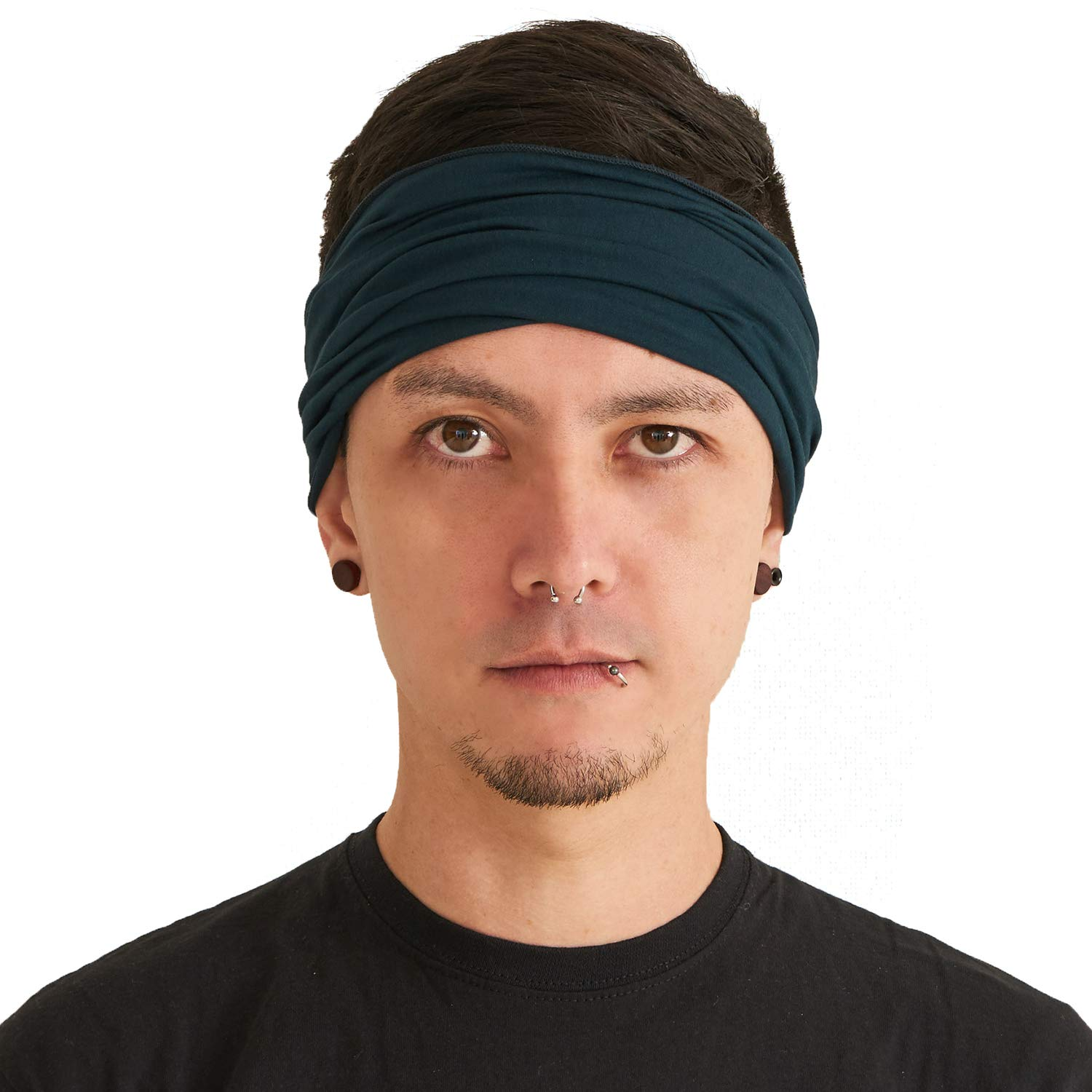 Blue Green Japanese Bandana Headbands for Men and Women – Comfortable Head Bands with Elastic Secure Snug Fit Ideal Runners Fitness Sports Football Tennis Stylish Lightweight M by CCHARM (Image #1)
