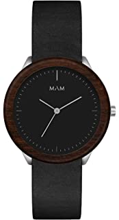 Mam originals Dark Teak Black Mens Analog Japanese Quartz Watch with Synthetic Leather Bracelet 077