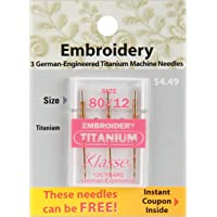 Tacony Corporation Klasse Titanium Embroidery Machine Needles-80/12 3/Pkg