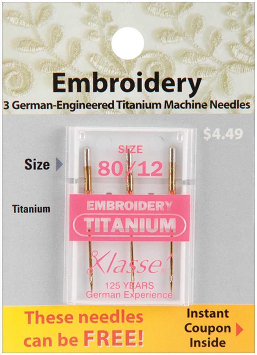 Tacony Corporation Klasse Titanium Embroidery Machine Needles-80/12 3/Pkg Notions - In Network A5108T