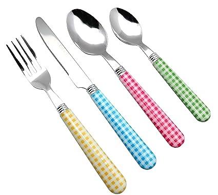 Exzact - Conjunto de Cuberteria con 24 Piezas - Acero Inoxidable con manecillas de Color - 6 Tenedores, 6 Cuchillos, 6 Cucharas, 6 Cucharaditas ...