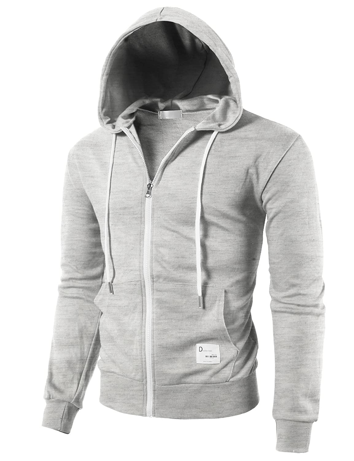 H2H Mens Casual Zip-up Hoodie Double Cotton Lightweight Hooded of #CMOHOL042