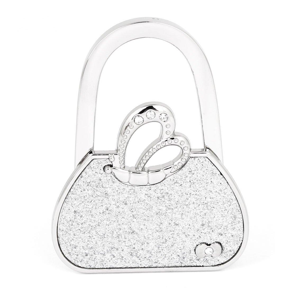 SODIAL(R)Silber Schmetterling Handtasche faltbarer Tischhaken Geldbeutel Aufhaenger Halter Haken fuer Frauen AEQW-WER-AW148886