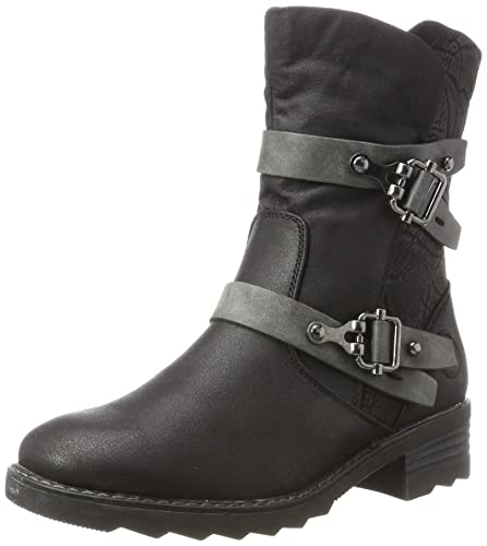 fdfe0c096a1 MARCO TOZZI Women's Biker Boots, (Black Ant.Comb), 3.5 UK: Amazon.co ...