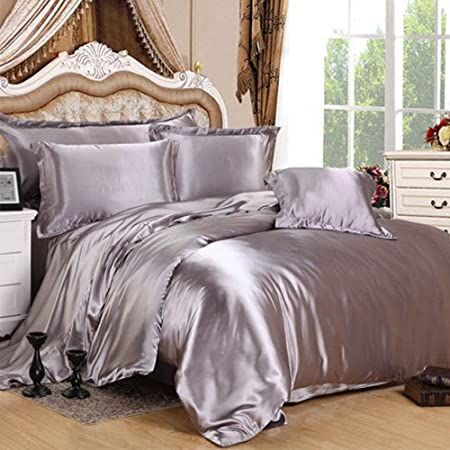 7 Piece Satin Bedding Sets Silver Double Bed Size Duvet Cover , Fitted Sheet  , Cushion