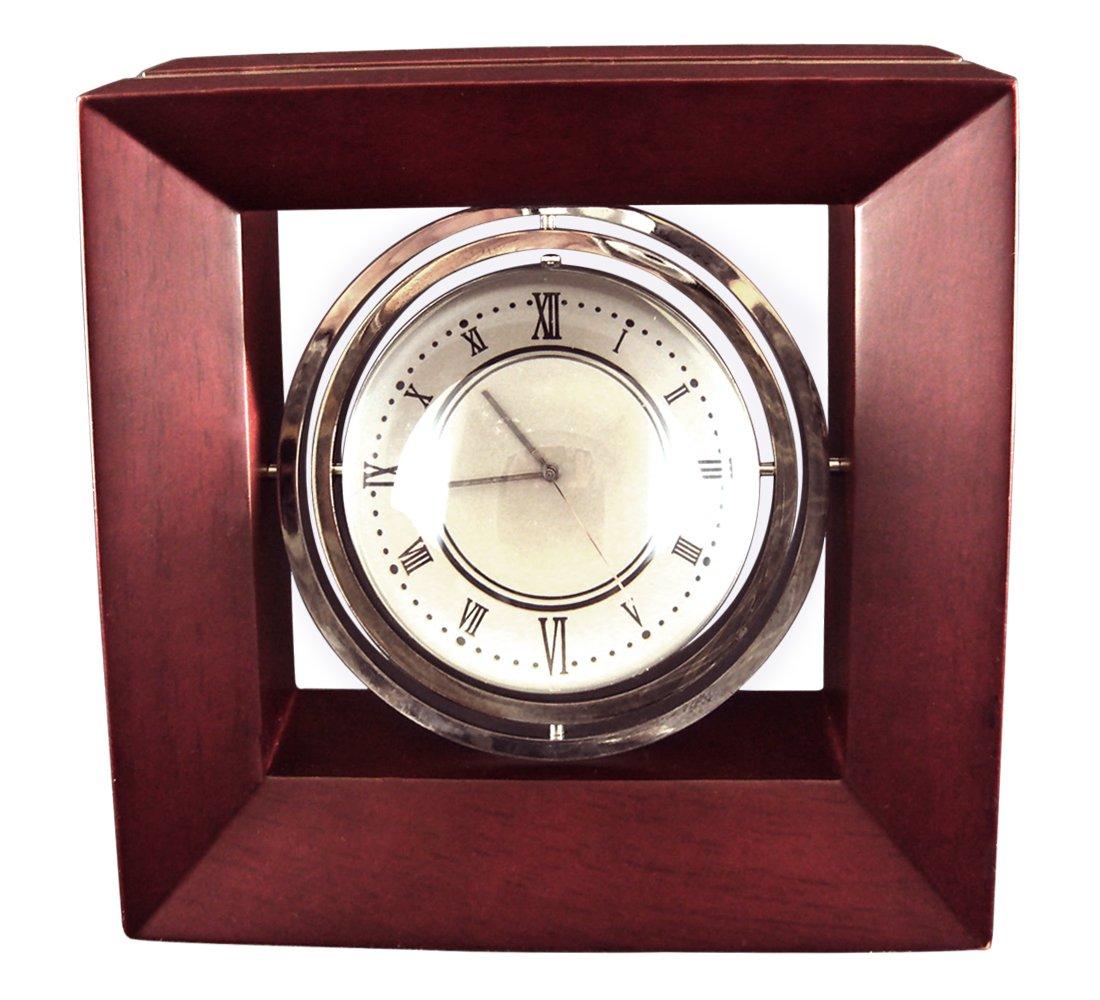 Executive Desk Clock, Gyroscopic Mag Clock/Globe in Rosewood Case.