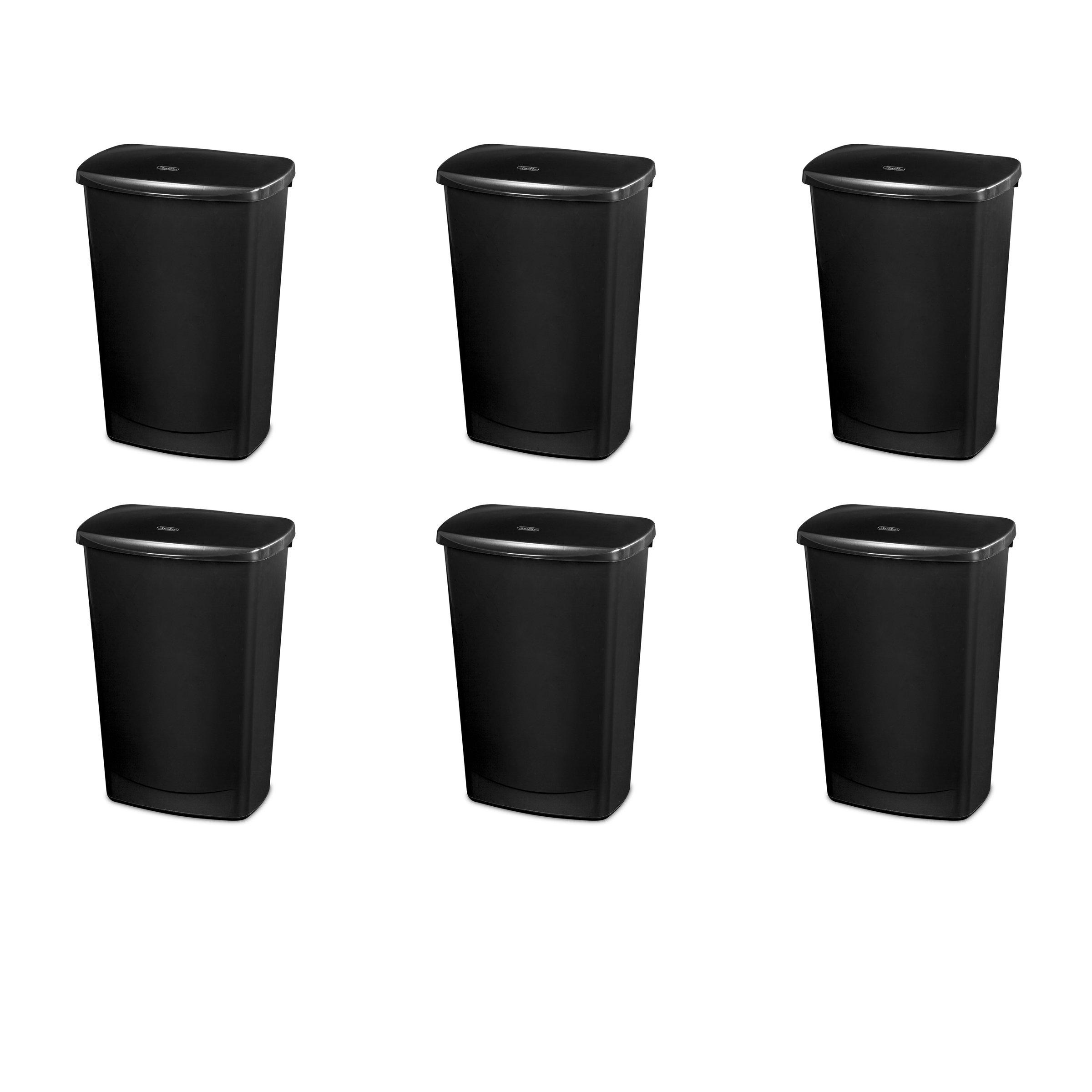 Sterilite 10919006 11.4 Gallon/43 Liter LiftTop Wastebasket, Black Lid & Base, 6-Pack