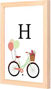 LOWHA H letter bike balloons Wall Art with Pan Wood framed Ready to hang for home, bed room, office living room Home decor hand made wooden color 23 x 33cm By LOWHA