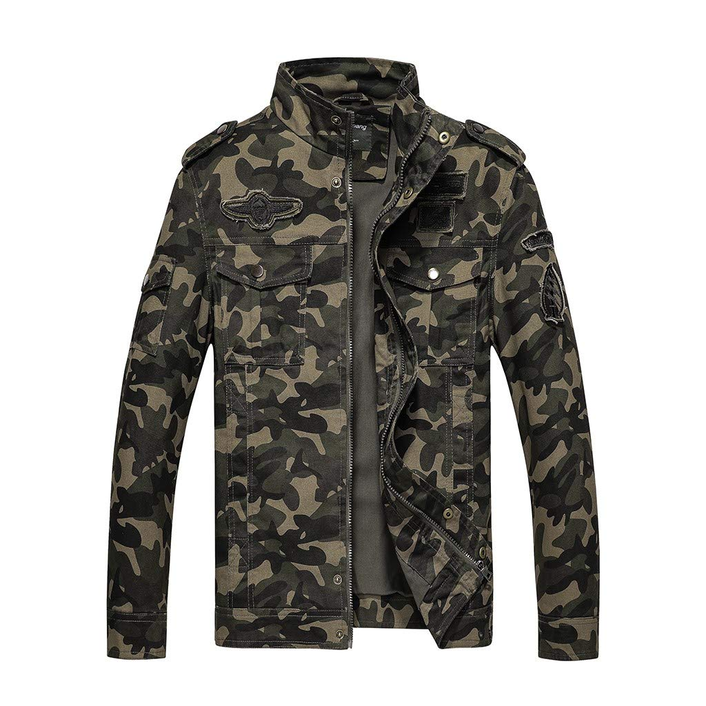 Benficial Coat for Men,Men's Fashion Camouflage Military Overcoat Large Tooling Jacket 2019 New