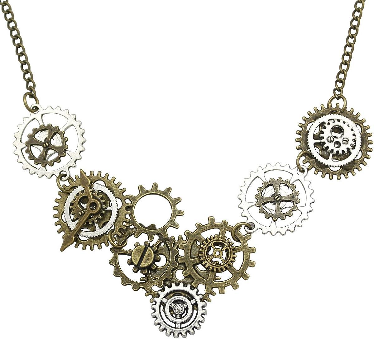 Steampunk Metal Cogs Necklace Fancy Dress Pendant Gothic Halloween Gears Chain