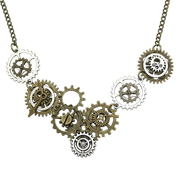 Vintage Style Jewelry, Retro Jewelry Q&Q Fashion Vintage Gold & Silver Watch Clock Clockwork Hand Gear Cog Steampunk Necklace  AT vintagedancer.com