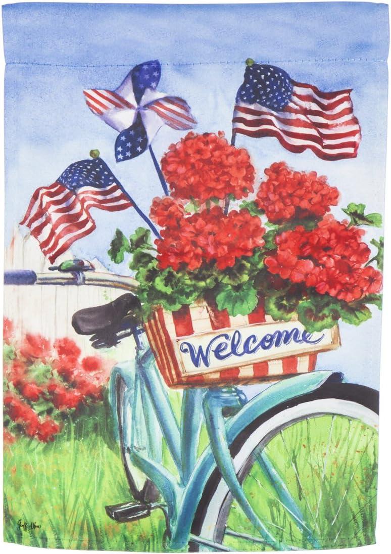 Patriotic Bicycle Garden Suede Flag - 13 x 1 x 18 Inches