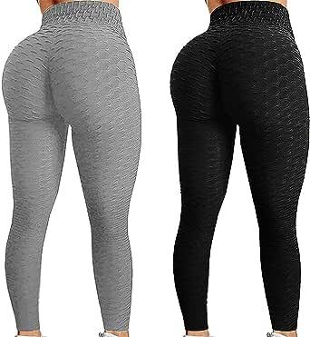 2 st Tik Tok-leggings med rumplyft för kvinnor. Yogabyxor med hög midja och höftlyft, bubblor, träningsbyxor
