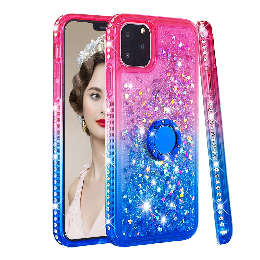 Tznzxm iPhone 2019 (XI Max) 6.5'' Case, Fashion Glitter TPU Gradient Quicksand Shockproof Bling Diamond Sparkly Defender 360 Finger Kickstand Ring Protective Case for iPhone 11 Pro Max 2019 Pink/Blue by Tznzxm