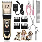 Pet Grooming Clippers,Focuspet Rechargeable Cordless Dog Grooming Clippers Kit Low Noise Electric Hair Trimming Clippers Set For Small Medium Large Dogs Cats Other Animals (Gold&Black)