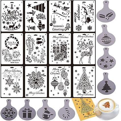 Merry Christmas Stencils Set de 12 plantillas de pintura navideña con 8 unidades de plantillas decorativas