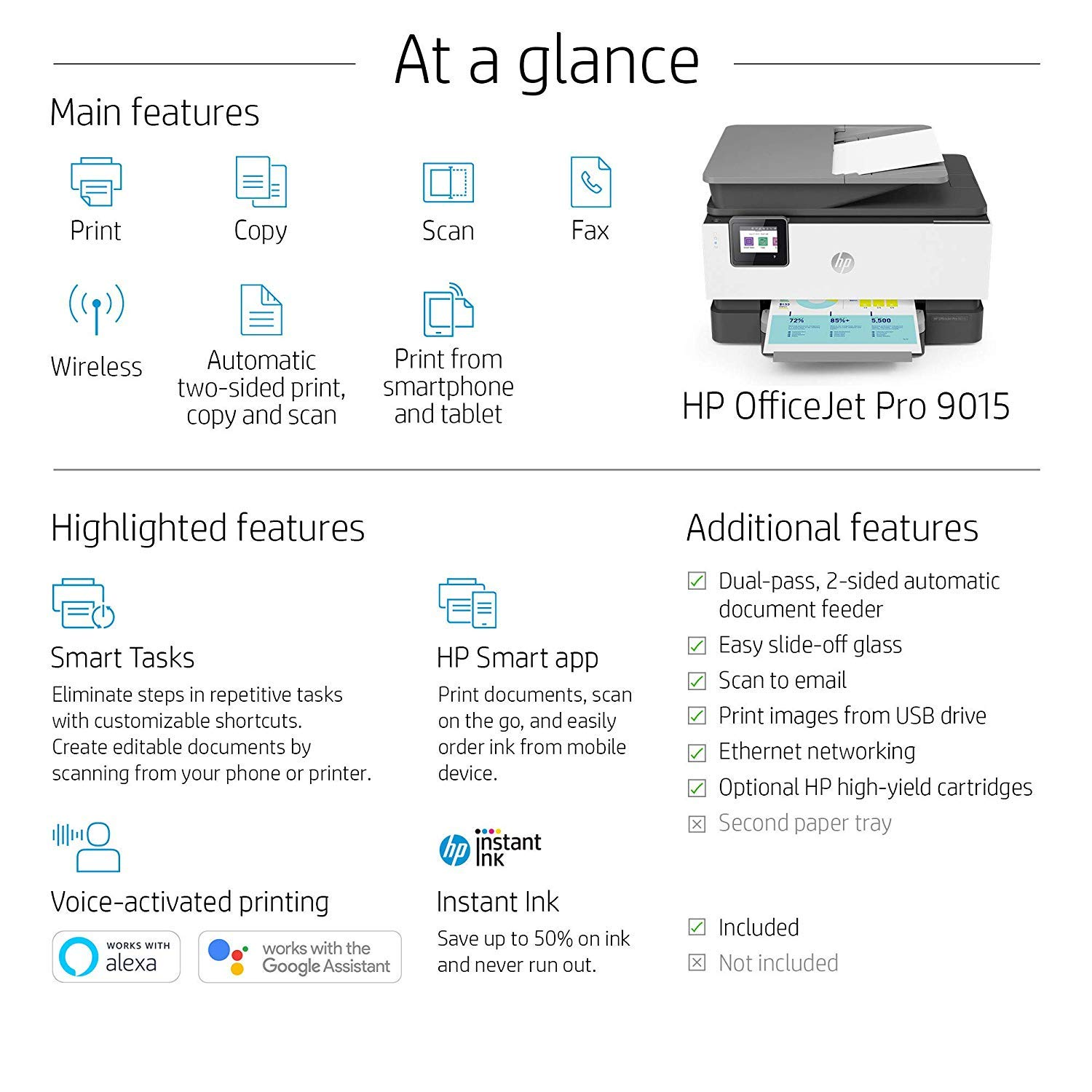HP OfficeJet Pro 9015 All-in-One Wireless Printer, with Smart Tasks for Smart Office Productivity & Never Run Out of Ink with HP Instant Ink (1KR42A) by HP (Image #11)