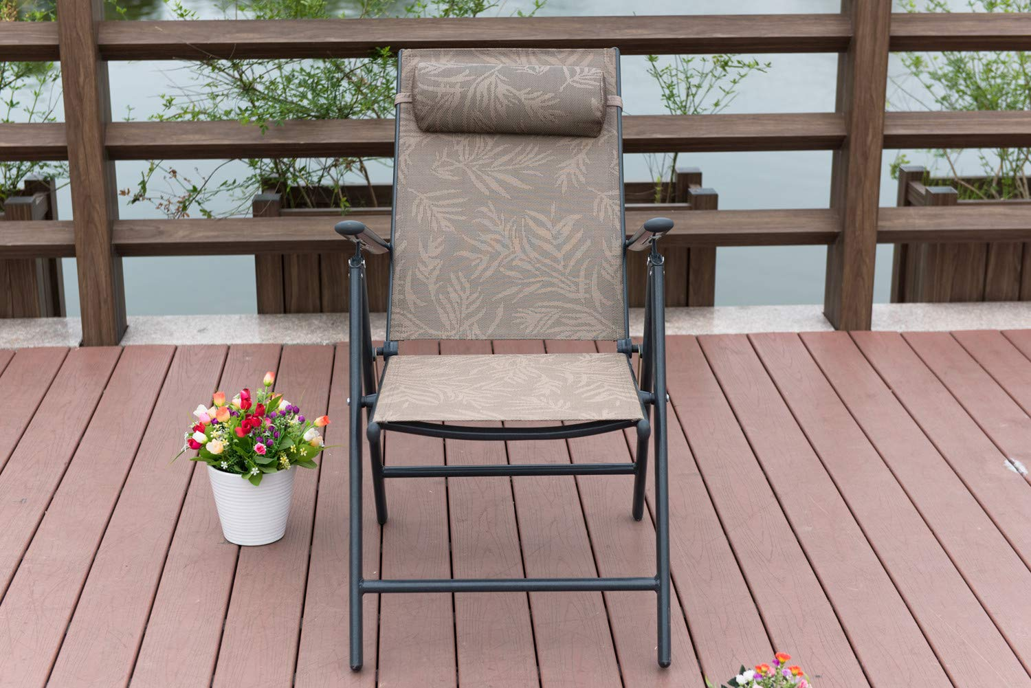 PatioPost Outdoor Adjustable Folding Recliner Aluminum Patio Sling Chairs with 7 Stalls, Set of 2 - Jacquard by PatioPost (Image #8)