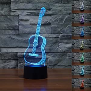 Guitar 3D Lamp Night Light Table Desk Lamps, MONICA 7 Color Changing Touch Lights with Acrylic Flat & ABS Base & USB Charger