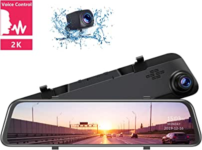 "TOGUARD 2K Mirror Dash Cam 12"" Backup Camera Voice Control Touch Screen Front and Rear Dual Dash Camera for Cars Rear View Mirror Camera with 1080P Waterproof Rear Camera"
