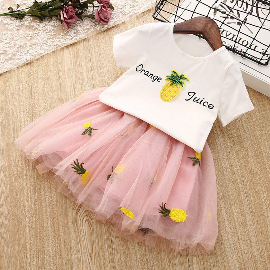 Baby Girls Dress 2pcs Set, Toddler Short Sleeve Tops T-Shirt+Pineapple Tutu Skirt Outfits Clothes (4-5 Years, Pink) by Hopwin Baby girls Suits (Image #2)