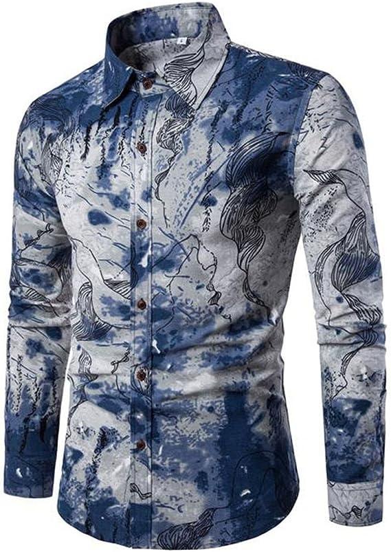 Camisa Impresa Casual para Hombre Camisas de Manga Larga de Paisley Funky con Estampado de Lino Camisa de Vestir con Botones Botones Patrón único: Amazon.es: Ropa y accesorios
