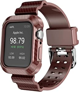 NVFED Carbon Fiber Pattern Soft Strap with Frame Case for Apple Watch SE Band Series 6 5 4 44mm Outdoor Sport Bracelet Belt (Band Color : Coffee, Band Width : 44mm)
