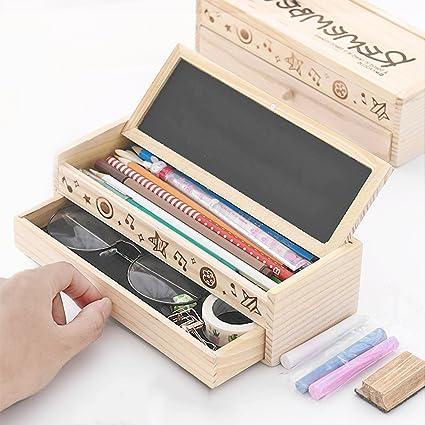 icheap Madera Pencil Case para niños, estuche Chica, lápices caja ...