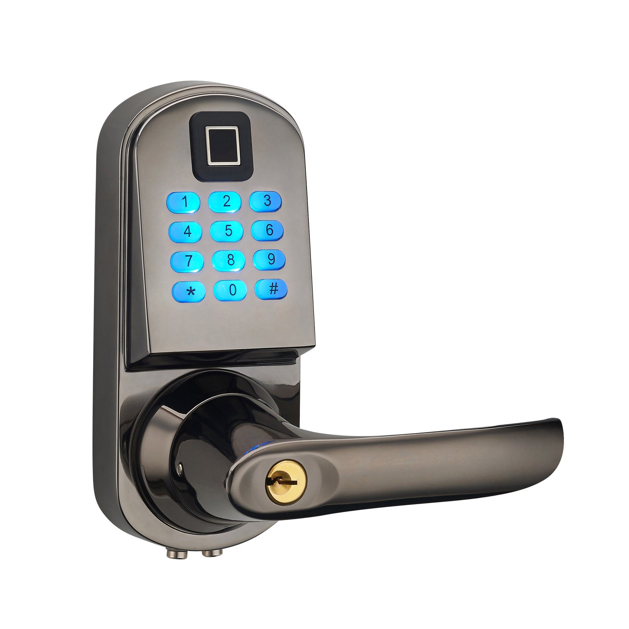 HAIFUAN Right Hand Electronic Keyless Fingerprint Door Lock,Unlock With Code, Fingerprint, And Mechanical Key (HFAS200FV-R) by HAIFUAN