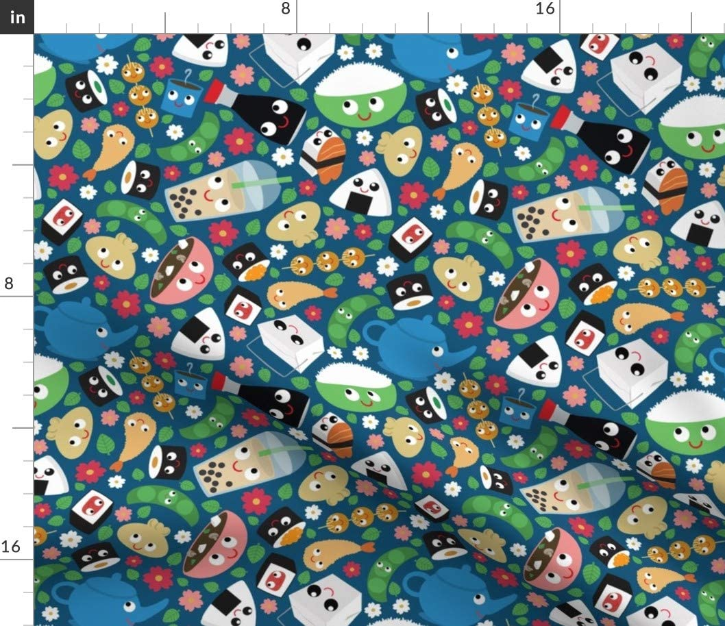 Spoonflower Fabric - Box Sushi Kawaii Tea Food Faces Printed on Petal Signature Cotton Fabric by The Yard - Sewing Quilting Apparel Crafts Decor