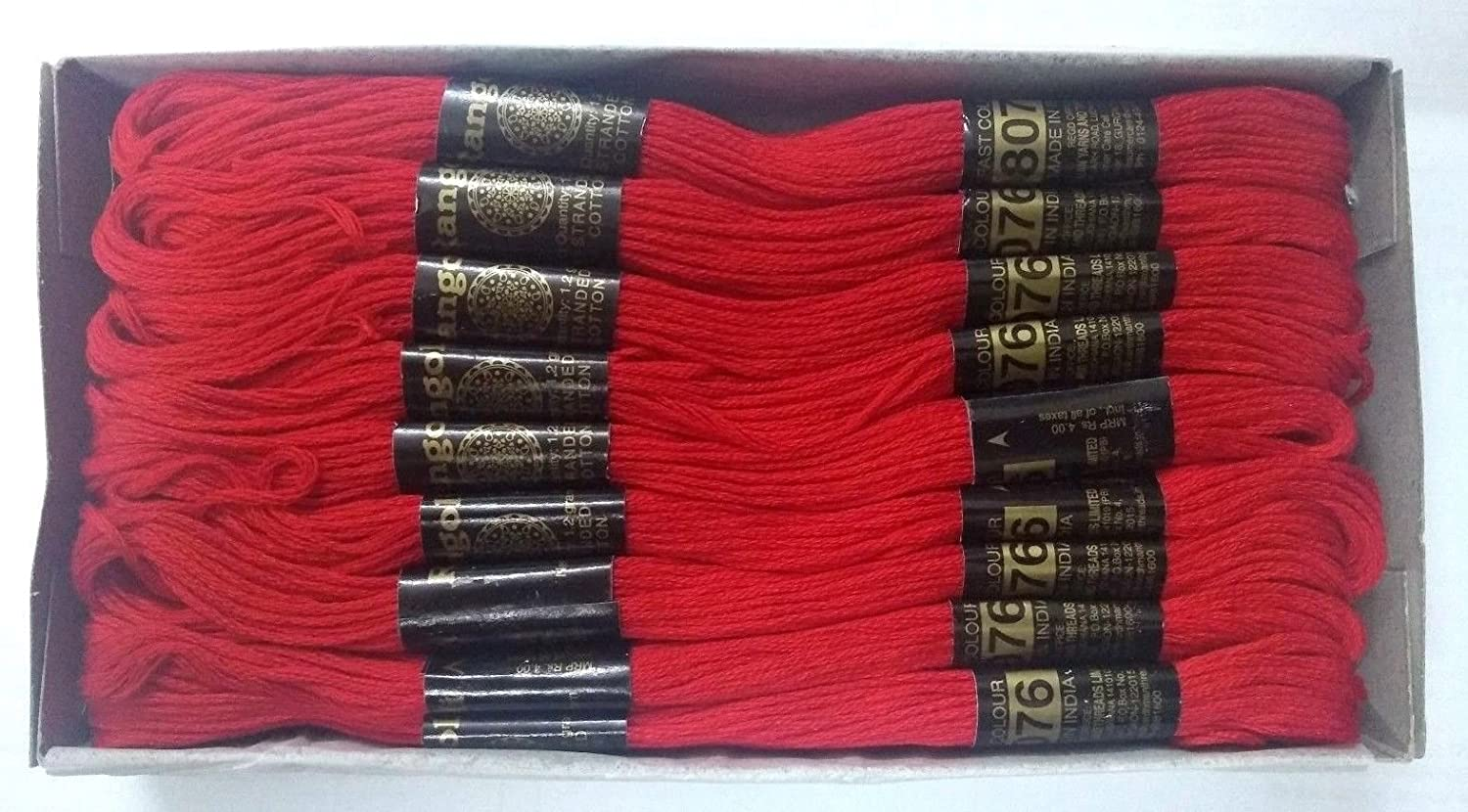 Bright RED - Set Lot of Cotton 6 Ply Strand Thread Yarn Skeins Cross Stitch Embroidery Floss (Set of 20 Skeins) Desi Hawker