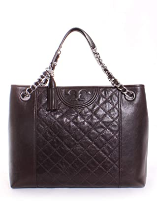 Amazon.com  Tory Burch Fleming Distressed Leather Tote in Dark Mahogany   Clothing 65724abd8db75