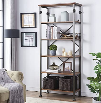 Amazon Com O K Furniture 6 Tier Industrial Style Bookcase Vintage
