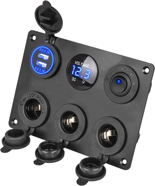 EEEKit el Panel Multifuncional del zócalo del Cargador del Coche, Panel para interruptores, con tomacorriente de 12V, Cargador Dual de zócalo USB, voltímetro LED