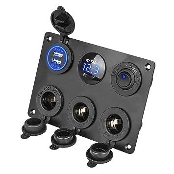 EEEKit el Panel Multifuncional del zócalo del Cargador del Coche, Panel para interruptores, con tomacorriente de 12V, Cargador Dual de zócalo USB, ...