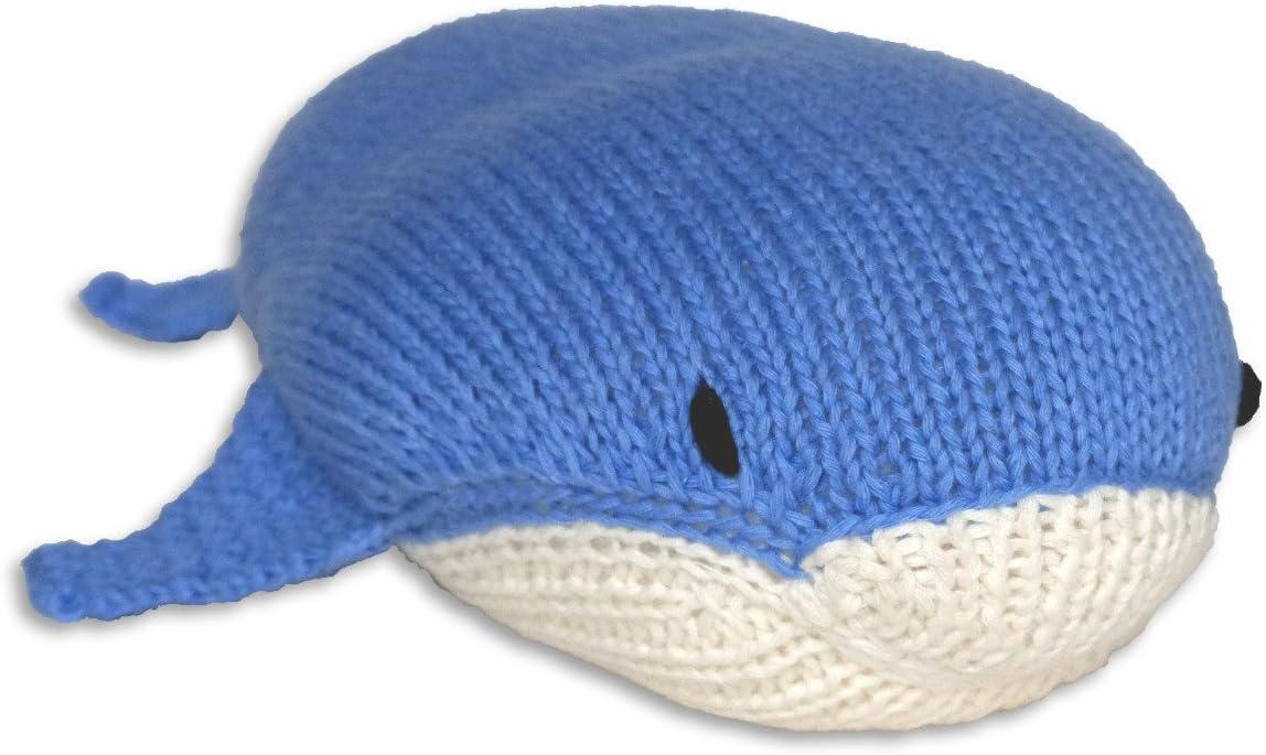 Pesce Mama Ocllo Strick-Kuscheltier-Blauwal 29 cm Handmade Cotone Biologico Fair Trade Cuscino per Bambini Blu//Bianco