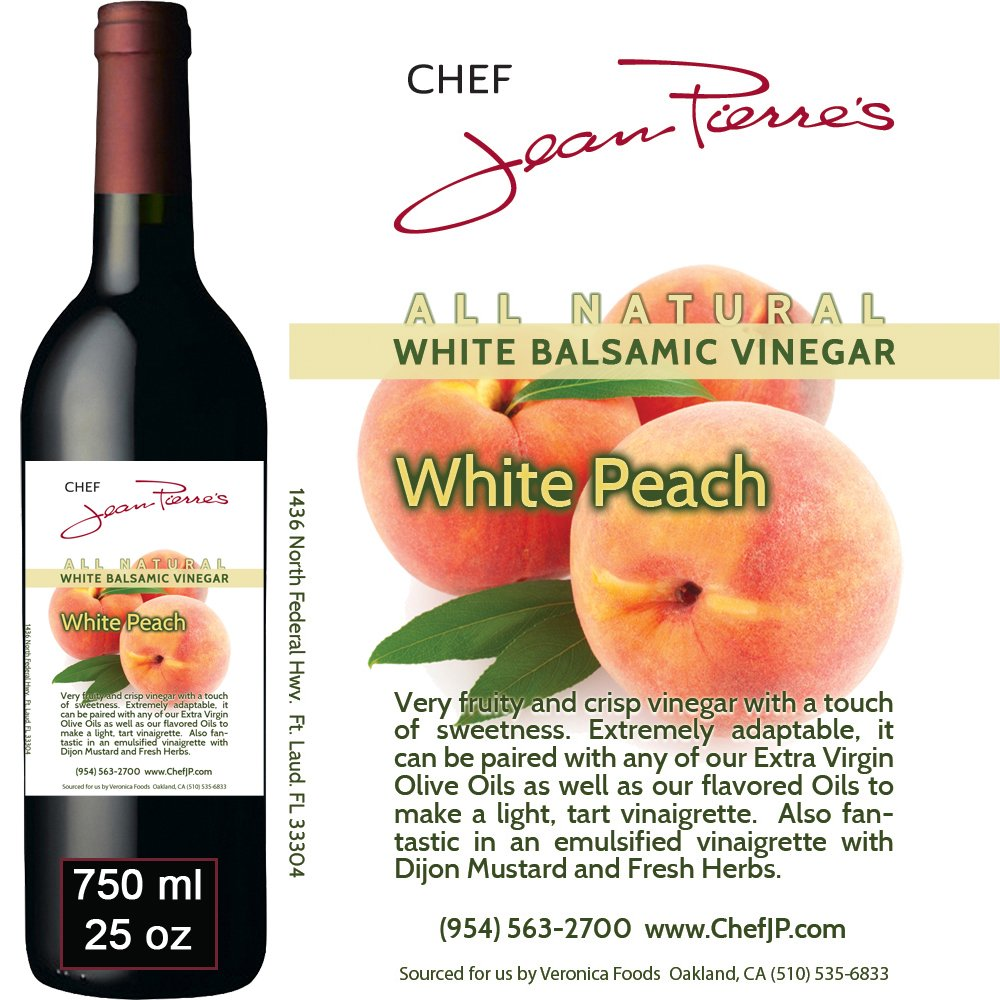 Traditional Barrel aged 12 years ''Peach White Balsamic'' 100% ALL NATURAL vinegar 750ml (25oz) by Chef Jean Pierre