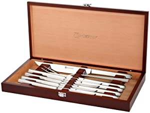 Wusthof Stainless Steel 10 Piece Steak and Carving Set with Presentation Chest, Silver