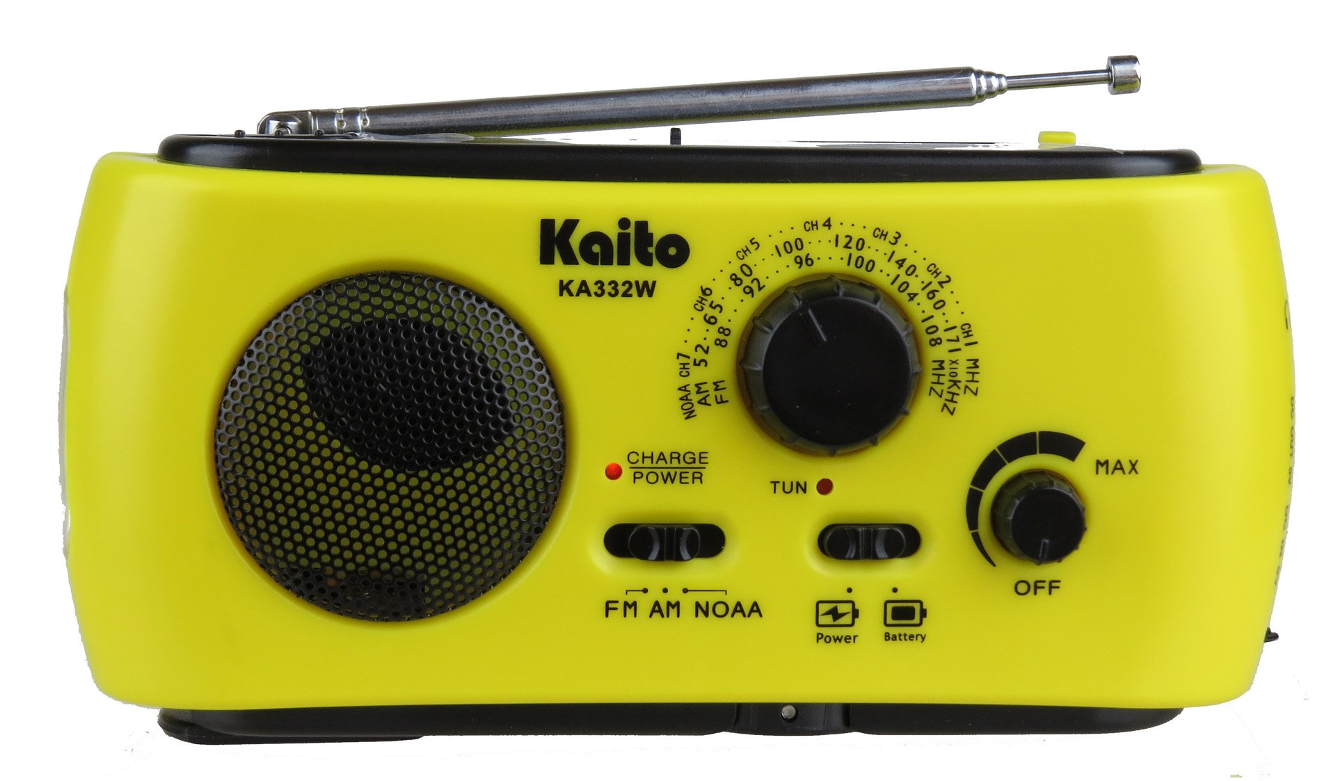 Kaito KA332W Portable Hand Crank Solar AM/FM NOAA Weather Radio with Cell Phone Charger & 3-LED Flashlight (Yellow)